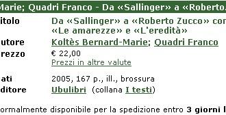 Koltès Bernard Marie - Da Sallinger...