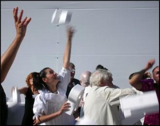 Franco Quadri durante ?hamlice' a Volterra 2010
