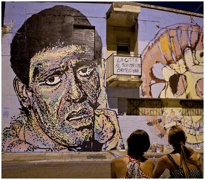 Un murales dedicato a Carmelo Bene