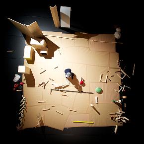 Lo spettacolo con tutti i suoi oggetti visto dall'alto (photo: © Nicolas Lieber)
